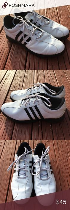Mens Adidas Golf Shoes 11.5 Spikes White Leather These are a pair of Adidas men's classic golf shoes. Spikes on bottom of shoe for maximal grip.  Size: 11.5  Model: EVG 791003 adidas Shoes Athletic Shoes