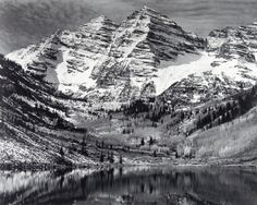 Ansel Adams_Maroon Bells Near Aspen Colorado. The quality and the sharpness of Adams' work is beautiful and captures the landscape in almost real-life, except for being in B.