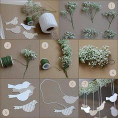 diy baby's breath garland... i would do hearts instead of birds for our wedding :)