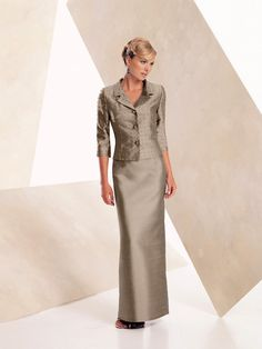 Montage by Mon Cheri - 23967 - Two-piece blended wool and silk shantung suit, pearl beaded jacket with three-quarter length sleeves, sheath skirt. PLEASE NOTE: No longer available in Delphinium, as shown.Sizes:4 - 20, 4P - 14P, 16WP - 26WPColor: Taupe