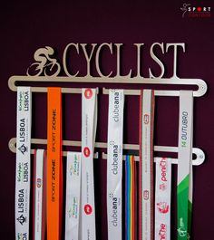Cycling medal display double hanger by SportContour on Etsy