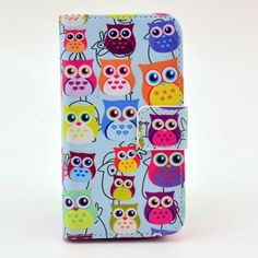Cute Owl Family Style Flip Leather Case for iPhone 4 4S 5S SE 6S 6 Plus with card holder wallet stand cover