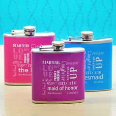 Personalized Bridal Party Color Flasks.  Great personalized gift for my bridesmaids. flask, parti color, bridesmaid gifts, favor, the bride, wedding events, bridal parties, big day, bridal showers