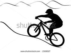 Vector graphics illustration. Mountain bike rider uphill. - stock vector