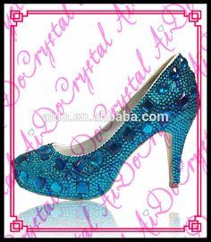 Aidocrystal women leisure spring nice ladies high heel shoes deep blue diamond crystal high heel shoes