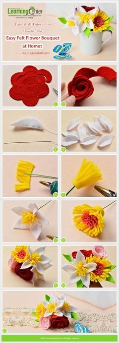on How to Make Easy Felt Flower Bouquet at Home from LC.Tutorial on How to Make Easy Felt Flower Bouquet at Home from LC. Felt Flower Bouquet, Felt Flowers, Diy Flowers, Fabric Flowers, Paper Flowers, Felt Flower Diy, Ribbon Flower, Origami Flower Bouquet, Diy Bouquet
