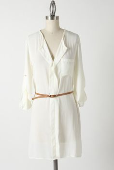 Sincerely Sweet Deserted Island Belted Shirt Dress in Ivory Lovely Dresses, Dresses For Work, Cute Fashion, Fashion Pics, Nautical Dress, Belted Shirt Dress, Trendy Clothes For Women, Sweet Dress, Ivory