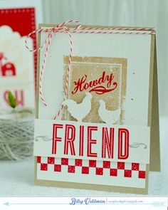 On The Farm Revisited: Howdy Friend Card by Betsy Veldman for Papertrey Ink (July 2014)