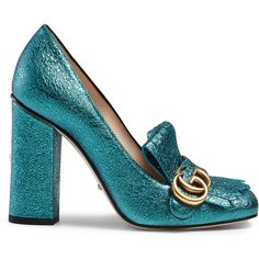 Gucci Metallic Leather Pump (16,510 MXN) ❤ liked on Polyvore featuring shoes, pumps, heels, turquoise, gucci shoes, leather shoes, fringe pumps, real leather shoes and metallic heel shoes