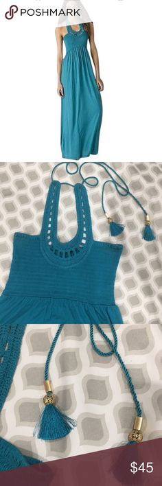 Juicy couture teal key hole neckline maxi dress Juicy couture women's teal blue key hole neckline maxi dress Smocked dress with crotchet yoke in the front. Ties at the back, has gold ties Juicy Couture Dresses Maxi