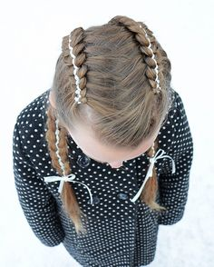 5 Strand Dutch Ribbon Braid with hidden part by Erin Balogh Unique Hairstyles, Braided Hairstyles, 5 Strand Braids, Ribbon Braids, Braids For Kids, Mermaid Hair, Estate, Flowers In Hair, Dutch
