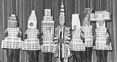 Ralph Walker and his peers at the at the 1931 Beaux-Arts Architect Ball. From left to right: Stewart Walker (Fuller Building), Leonard Schultze (Waldorf-Astoria), Ely Jacques Kahn (Squibb Building), William Van Alen (Chrysler Building), Ralph Walker (1 Wall Street), D.E.Ward (Metropolitan Tower), and Joseph H. Freelander (Museum of New York).  Walker Tower development by JDS Development Group. 212 W 18th St, NY, NY 10011. www.walker-tower.com