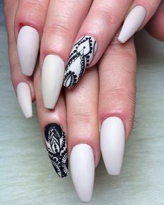White matte + Black lace Long Coffin Nails - Freestyle hand drawn nail art #nail #nailart