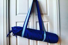 """""""Yoga mat bag made for pretty yoga girl #yoga #sewing #yogamatbag #bag #diy #navy #blue #dots"""""""