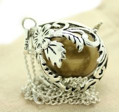 Silver Cage Ornate Open Oval Shaped Pregnancy Maternity Necklace Mexican Bola Harmony Necklace with MATT GOLD Ball OOS2