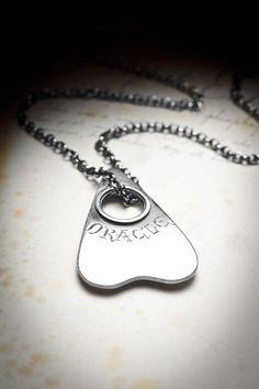 ORACLE-silver ouija board marker necklace