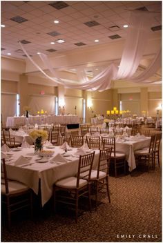 Reception at Park Place Event Center chiavari chairs and square tables