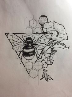 Hummel Flower Sketch - Zeichnungen, Skizzen, Tattoos - Sketch - DIY bestes Tattoo - Hummel Flower Sketch Drawings Sketches Tattoos Skizzieren Information - Mini Tattoos, Flower Tattoos, Body Art Tattoos, New Tattoos, Cool Tattoos, Bee And Flower Tattoo, Sleeve Tattoos, Black And White Flower Tattoo, Tatoos