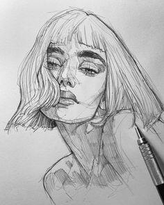 Girl Drawing Sketches, Cool Art Drawings, Portrait Sketches, Pencil Art Drawings, Portrait Art, Aesthetic Art, Aesthetic Drawing, Arte Sketchbook, Oeuvre D'art