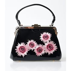 Voodoo Vixen Black Patent Floral Sunny Day Handbag (3.325 RUB) ❤ liked on Polyvore featuring bags, handbags, black, locking purse, patent handbags, patent leather purse, flower print handbags and kiss-lock handbags