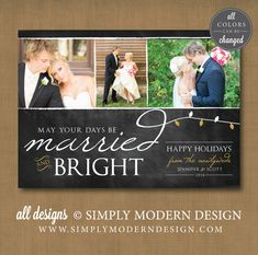 married and bright, christmas card, married christmas, newlyweds, first christmas    www.simplymoderndesign.com