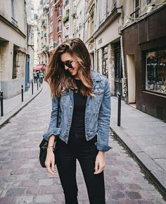 Black on black with a denim jean jacket