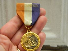 Vintage Champion Bicycle Medal on ribbon by VogelHausVintage, $6.00