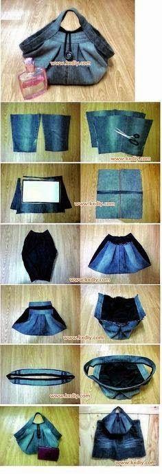 Pleated Denim Handbag Sewing Project