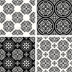 Abstract patterns Graphics Seamless black and white patterns by elyomys