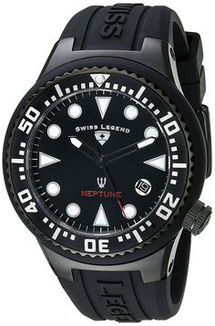 Swiss Legend Women's 11044D-BB-01 Neptune Black Dial Black Silicone Watch * Click image for more details.