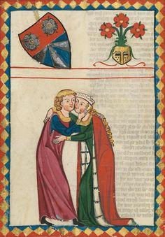 14th century (ca. 1300-1340) Switzerland - Zürich Universitätsbibliothek Heidelberg Cod. Pal. germ. 848: Große Heidelberger Liederhandschrift (Codex Manesse) fol. 179v - Der von Johansdorf http://digi.ub.uni-heidelberg.de/diglit/cpg848