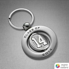 14 Spinner Key Ring Your choice of gold or silver. #classof2014 #graduation #keychain  jostens.com
