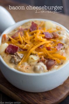 Bacon Cheeseburger Soup at http://therecipecritic.com  A delicious and creamy soup that will remind you of a bacon cheeseburger!
