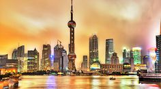 The Oriental Pearl TV Tower Of Shanghai, China .Best city lights display I've ever seen. Shanghai Skyline, Shanghai City, Shanghai Tower, Quebec, Calgary, Pearl Tv, Beautiful World, Beautiful Places, Beautiful Buildings