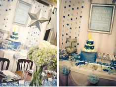 Twinkle Twinkle Little Star baby shower theme (very elegant).  Love the rock candy sticks and super glittery stars!