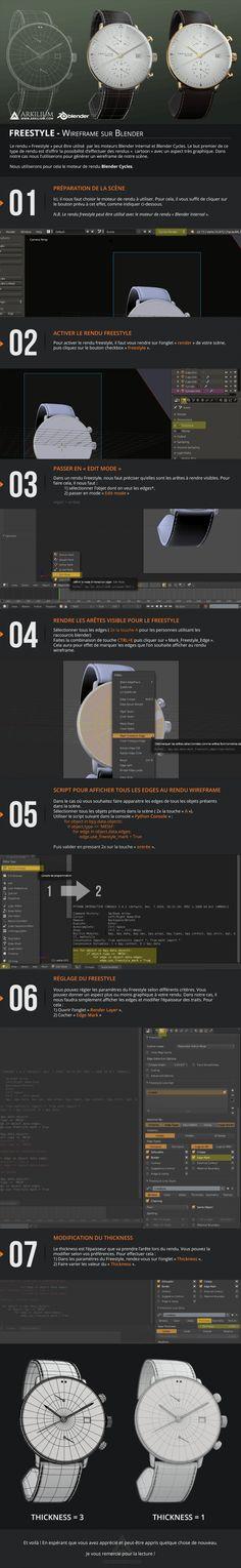 Tutoriel Blender Cycles wireframe avec l'outil freestyle. www.arkilium.com