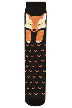 Black Fox Knee High Socks topshop