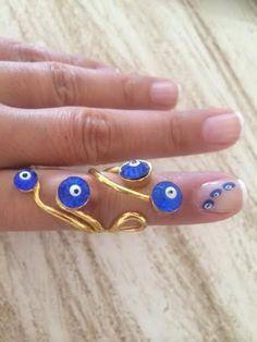 Evil Eye Ring Long Ring Lucky Ring Birthday by santorinijewellery