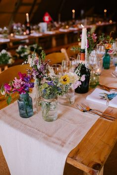 Festival Themed At Home Wedding in a Tipi with Wild Flowers & DIY Decor - Wild Flowers in Jars Wedding Flower Decorations, Wedding Table Centerpieces, Wedding Bouquets, Music Centerpieces, Wildflower Centerpieces, Quinceanera Centerpieces, Reception Decorations, Cheap Flowers For Wedding, Wedding Dresses