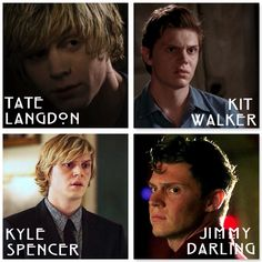 Evan Peter's characters throughout the seasons | American Horror Story | Murder House, Asylum, Coven, Freakshow