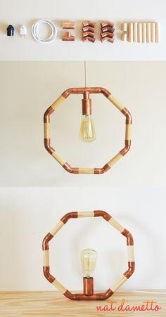 Luminária Octogono de Cobre e Madeira DIY - Nat Dametto