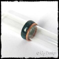 Anneau modulable double ou triple- large en émaux sur cuivre et cuivre brut - bague de créateur - couleurs personnalisables