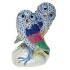 Herend Hand Painted Porcelain Figurine of Two Owls in Blue Fishnet, Colorful Wings, Gold Accents.