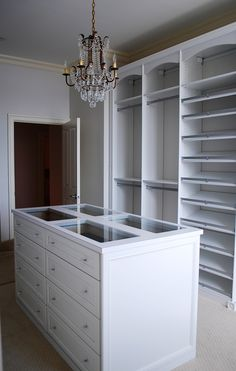 Master Dressing Room with Island, Shoe Fences & Rosettes - traditional - closet - baltimore - by California Closets Maryland California Closets, Walk In Closet Design, Closet Designs, Bandeja Perfume, Dressing Room Closet, Dressing Rooms, Closet Island, Interior Design Masters, Master Bedroom Closet