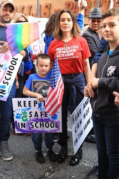 Actress Alyssa Milano was seen with her children at the anti-gun March For Our Lives rally in downtown LA March For Our Lives, Singing Happy Birthday, Slogan Tee, Alyssa Milano, Celebs, Celebrities, Change The World, Our Life, Cool Bands