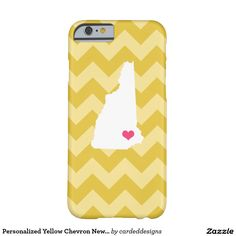 Personalized Yellow Chevron New Hampshire Heart Barely There iPhone 6 Case