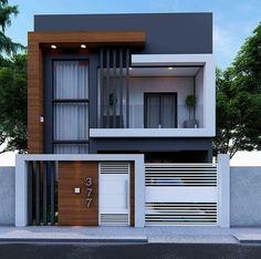 Mayra Kennya F. Modern Exterior House Designs, Modern Small House Design, Modern House Facades, Minimalist House Design, Modern Architecture House, Architecture Design, Exterior Design, Facade Design, Modern Minimalist