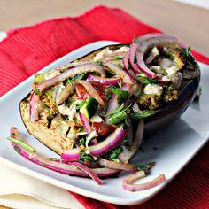 Recipe: Falafel-Stuffed Eggplant with Tahini Sauce and Tomato Relish