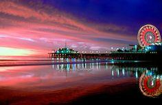 Santa Monica; CA; Ocean Fiery Sunset, Pacific Park Pier, Ferris Wheel, Reflections,