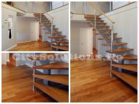 Metal single stringer stair with wooden steps. Metallic structure of electrostatic painted steel. Wooden Steps, Exterior Stairs, Floating Stairs, Interior Decorating, Interior Design, Wood Interiors, Spiral Staircase, Solid Oak, Landscape Design